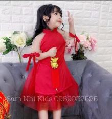 Áo dài cách tân cho bé gái dưới 25kg, chất liệu Umi co giãn phối tay lưới đính hạt cườm cho bé thêm đáng yêu