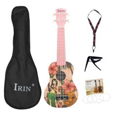 Irin 21 Inch Pink Soprano Ukulele Ukelele Guitar 4 Strings Acoustic Hawaiian Guitar Musical Instruments for Girl Beginner
