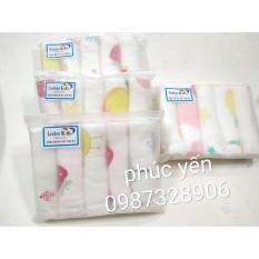 Khăn Sữa Sợi Tre 6 Lớp Lee Lee Và HBQ Kids túi zíp (Loại Nền Trắng) (SP000224)