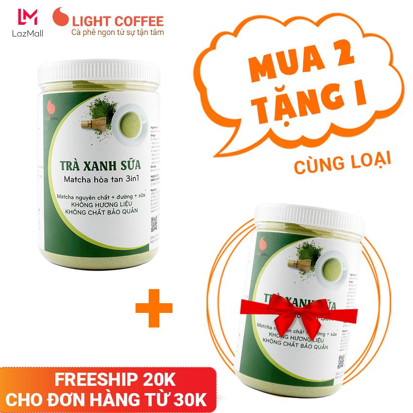 [MUA 2 TẶNG 1] Bột trà xanh sữa 3in1, matcha xuất xứ Nhật Bản, hũ 550g, từ nhà sản xuất Light Coffee