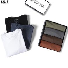 Áo thun nam cổ tròn chất liệu cotton xuất xịn, dày dặn, co giãn, BASIS AT04