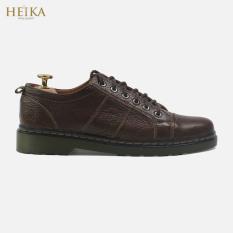 Giày đốc nam cổ ngắn da bò thật cao cấp HEIKA207-Bảo hành 12 tháng. Tặng kèm lót giày da