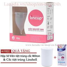 Cốc nguyệt san Lincup Lincup Plus + Tặng Cốc tiệt trùng Linshell + 50 viên tiệt trùng Milton