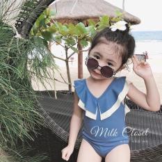 Đồ bơi bé gái 1 mảnh kiểu bodychip cổ viền bèo 2 lớp dây chéo lưng thun lanh 4 chiều size to cho bé từ 10kg đến 30kg( màu hồng, xanh, đen, kem)