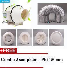 Combo 3 sản phẩm: Quạt nối ống, Ống bạc 9m, Nắp che đường ống (phi 150mm)