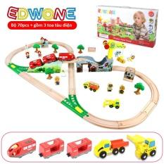 EDWONE, bộ mô hình đường ray xe lửa gỗ 70 chi tiết, bộ khai thác mỏ đá kèm xe điện