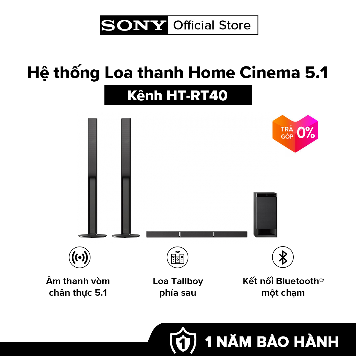 [HÀNG CHÍNH HÃNG – TRẢ GÓP 0%] Hệ thống Loa thanh Home Cinema 5.1 kênh HT-RT40 Âm thanh vòm chân thực 5.1 Khả năng kết nối Bluetooth® Phát lại âm thanh và video qua USB
