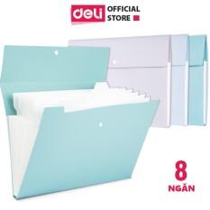 Cặp đựng tài liệu A4 Deli – 8 ngăn phân trang – Xanh Dương/Xám/Xanh mint- file lưu trữ tài liệu – 72456