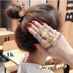 Dây cột tóc nhiều màu hoa cúc siêu xinh, dây thun buộc tóc nữ Hàn Quốc hot trend (Giao hình ngẫu nhiên)
