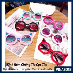 Kính mát cao cấp chống tia UV dành cho bé gái hình mèo siêu dễ thương VN61011 – Kính râm thời trang cho trẻ từ 2 tới 9 tuổi – Tặng kèm túi đựng kính + Khăn lau
