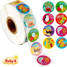 Cuộn 500 sticker nhãn dán khích lệ khen thưởng học tập cho bé yêu với nhiều họa tiết kèm slogan khiến những giờ học thêm sinh động Baby-S – SST010