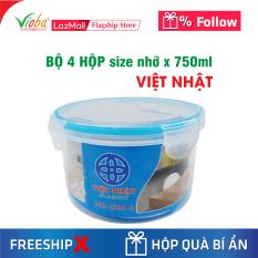 [4 hộp nhựa Việt Nhật] có nắp, đựng thực phẩm, chất liệu nhựa PP an toàn cho người sử dụng. Dung tích hộp 400ml, 1000ml, 1500ml, 2000ml