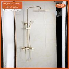 Bộ sen cây tắm đứng nóng lạnh vuông 90 nhập khẩu (AV-915) – chất liệu Inox 304 mạ vàng – Gia dụng Phú Gia