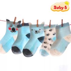 Set 5 đôi tất lưới cổ cao cho bé 0-2 tuổi chất cotton chống trơn trượt hình thú lạ mắt phối màu sắc đáng yêu Baby-S – ST017