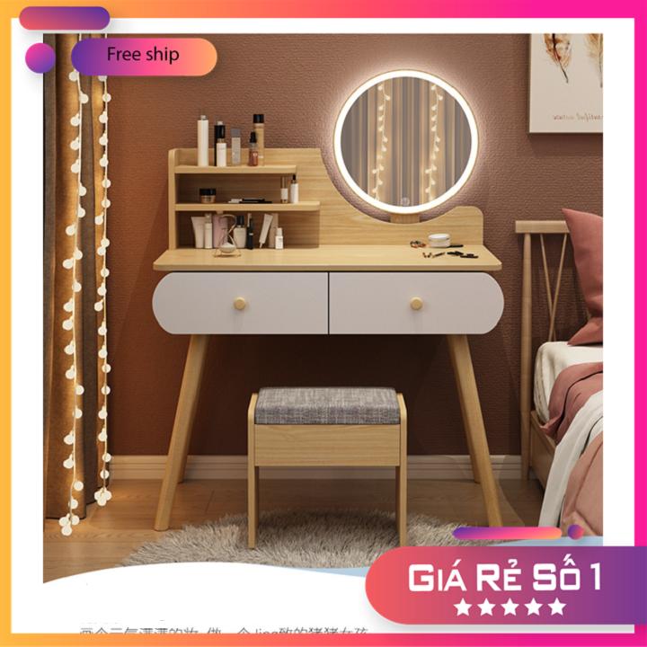 [HÀNG MỚI VỀ] Bàn trang điểm đẹp kèm ghế và gương LED, bàn trang điểm mini dài 80cm BAH002-N