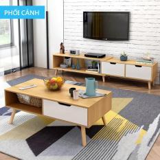 Tủ kệ Tivi và bàn trà phòng khách bằng gỗ kiểu dáng đơn giản hiện đại phong cách Bắc Âu đồ nội thất cỡ nhỏ phòng khách sang trọng TopOne2020