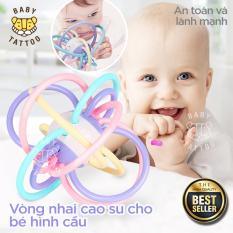 Vòng nhai cao su cho bé hình cầu ;Đồ chơi Thích hợp cho bé từ 6-12 tháng ; Đồ chơi trí tuệ cho bé ; vòng cầm nắm hình cầu