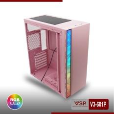 Thùng máy tính Case VSP V3 601P Gaming Nắp hông Plastic ABS Trong Suốt (Màu hồng)