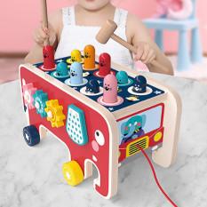 [SALE KHỦNG] Bộ đồ chơi đập chuột bằng gỗ an toàn cho sức khỏe người dùng thiết kế độc đáo hình xe ô tô kéo đi, hai bên mặt có các trò chơi vui nhộn (Kèm 2 chiếc búa nhỏ) ĐỒ CHƠI SIÊU HÓT 2020