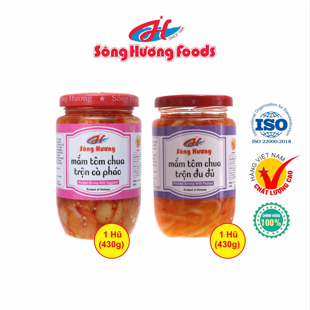 Combo 1 Hũ Mắm Tôm Chua Trộn Cà Pháo 430g + 1 Hũ Mắm Tôm Chua Trộn Đu Đủ 430g Sông Hương Foods