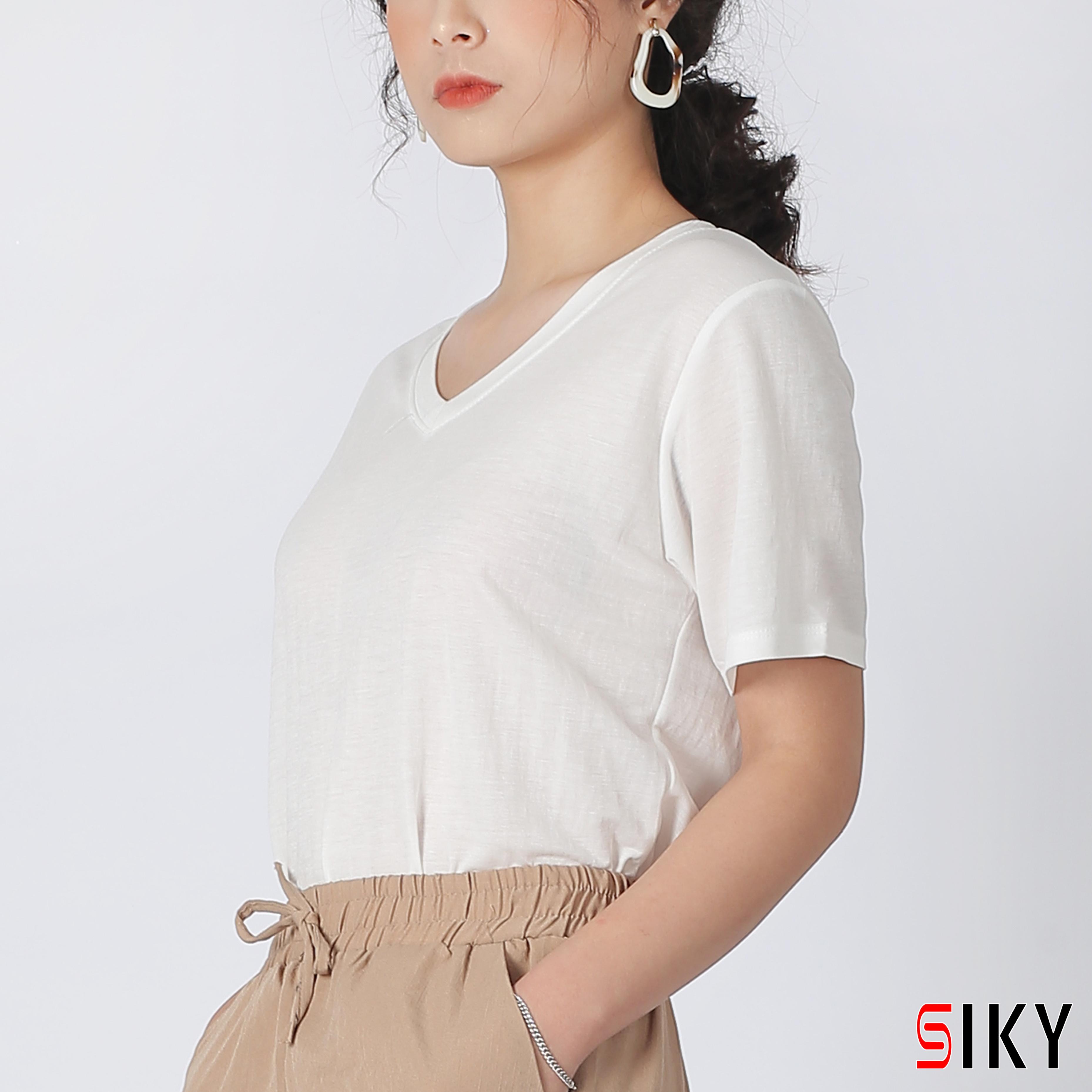 Áo phông nữ cổ tim tay ngắn - Sliky
