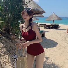 [HÀNG QUẢNG CHÂU] Set bikini liền mảnh thun gân đỏ đô cá tính