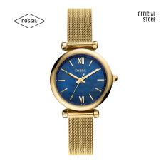 Đồng hồ nữ Fossil Carlie Mini Three-Hand dây thép không gỉ ES5020 – màu vàng