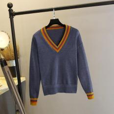 Áo len nữ dài tay cổ tim viền tay dáng rộng mùa thu đông
