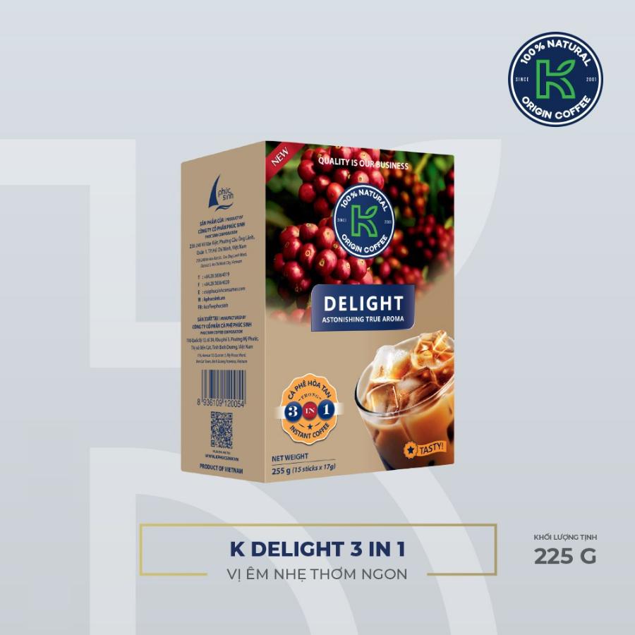 Cà Phê Hòa Tan K Coffee Delight 3in1 (255g / Hộp)