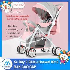 Xe nôi xe đẩy em bé hai chiều Haowei 9912 bản cao cấp hai tư thế nằm ngồi siêu nhẹ có thể gấp xách tay cho bé 0-3 tuổi