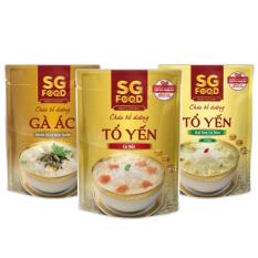 Lốc 3 (35) – Cháo bổ dưỡng SG Food 240g, tổ yến cá hồi, tổ yến hạt sen, gà ác (720gr)