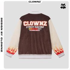 Áo jacket unisex ClownZ Corduroy Racing Flames Varsity