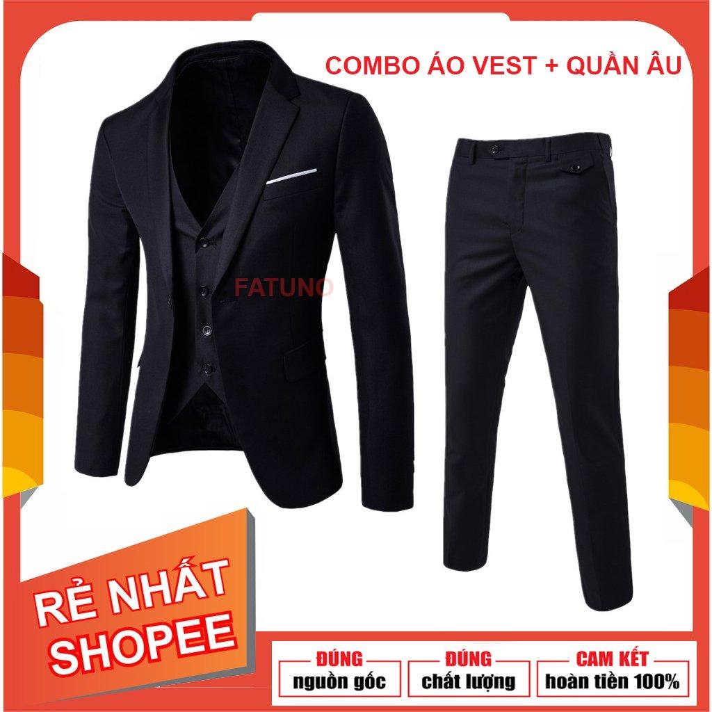 [Cam kết như hình] Set nguyên bộ gồm áo vest và quần tây âu nam mỏng mát trẻ trung dáng...