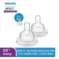 Núm ty Philips Avent Silicone dành cho trẻ từ 3 tháng tuổi – 3 lỗ(vỉ đôi) SCF633/27