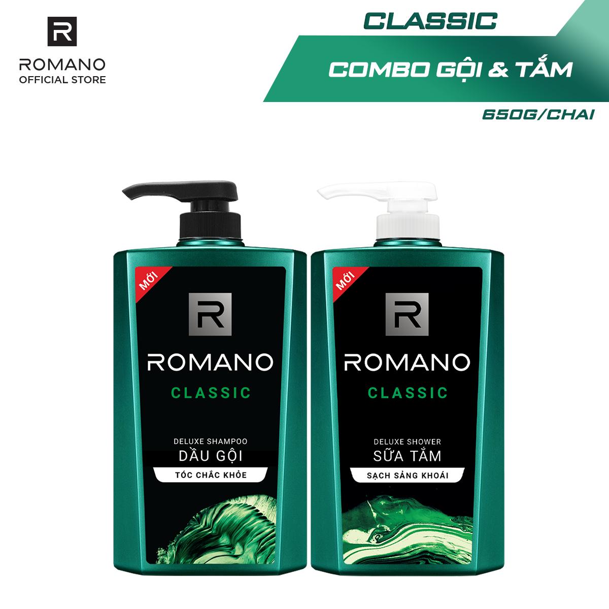 Combo Dầu gội và Sữa tắm Romano Classic 650gr/chai