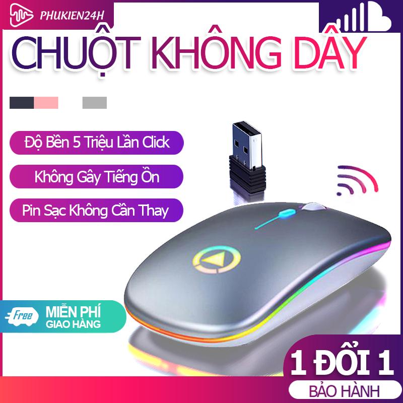 [Bảo Hành 06 Tháng] Chuột Không Dây Bluetooth+wireless M1 có led – Cảm biến nhạy -Lia mượt – Dùng cho Laptop PC TV