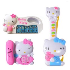 Bộ đồ chơi 3 món đàn mèo kitty gồm 1 đàn ghita, 1 đàn organ và 1 điện thoại