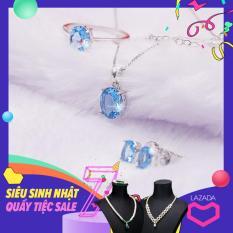 Bộ Trang Sức Bạc S925 Đá Topaz Xanh BNT-604 Bảo Ngọc Jewelry