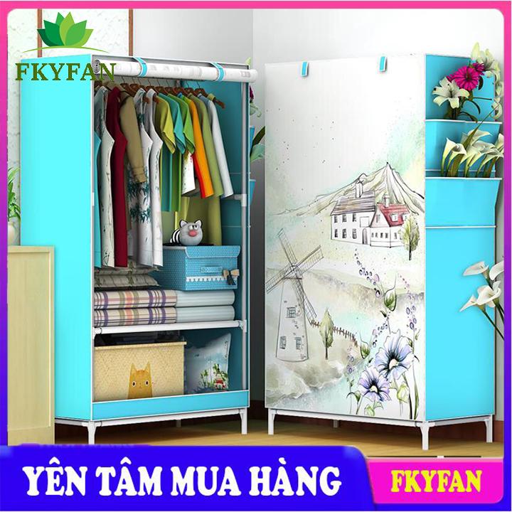 Tủ vải quần áo 3D đẹp với tủ vải khung inox đựng quần áo chắc chắn, bền,nhỏ gọn vô cùng tiện lợi , tủ đựng quần áo cao cấp