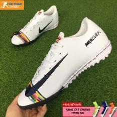 [Giày đá bóng Thể Thao VIP] Giày đá bóng sân cỏ nhân tạo Mercurial TF – Trắng Sọc