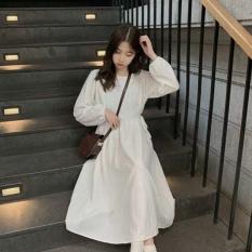 Đầm babydoll chun eo dài qua gối Dễ thương