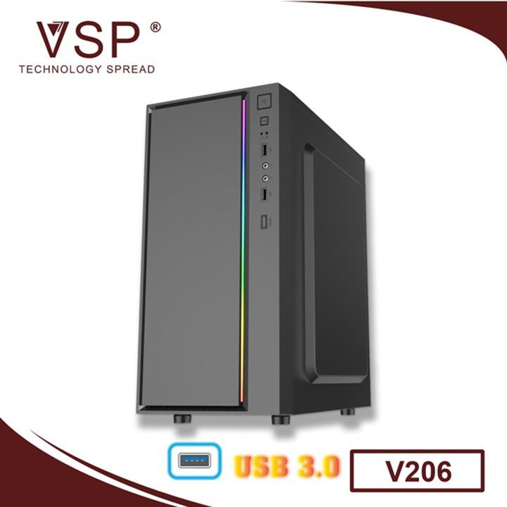 [HCM]Thùng Máy Tính Case VSP V206 Tích hợp LED RGB Hỗ trợ USB3.0 (mATX) (Chưa Bao Gồm Fan)