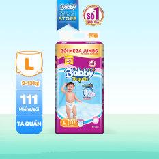 [GIÁ SỐC] Tã/bỉm quần Bobby siêu thấm khô thoáng Mega Jumbo L111 (9-14kg) – Cam kết HSD còn ít nhất 10 tháng