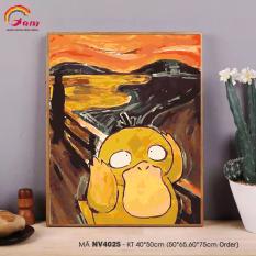 Tranh tự tô màu theo số sơn dầu số hóa Gam Pikachu Koduck NV4025