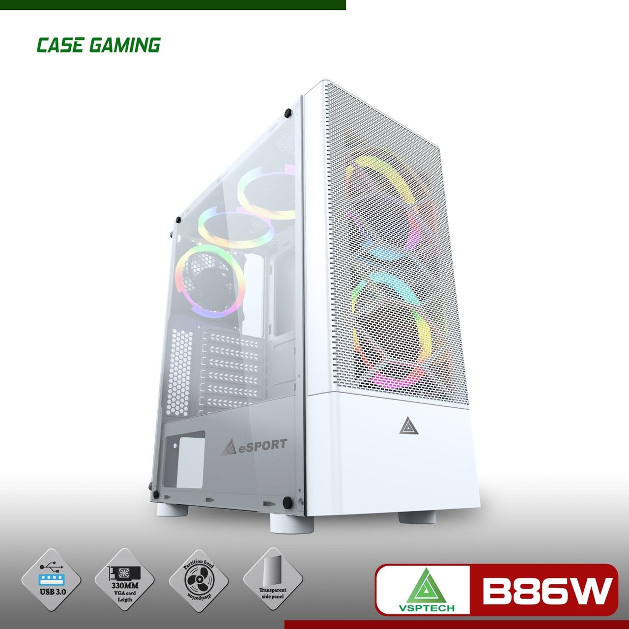 VỎ Case VSP B86 Gaming Mặt Lưới.- THIẾT KẾ CÁ TÍNH-SÀNH ĐIỆU ( MÀU TRẮNG)-CHƯA KÈM FAN