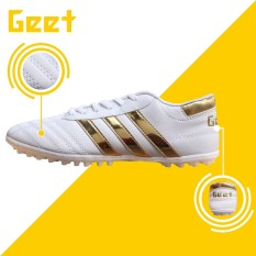 Giày đá bóng ba sọc trắng vàng Geet đã khâu đế