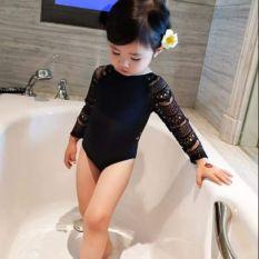 [Lấy mã giảm thêm 30%]Áo bơi liền tay ren bé gái