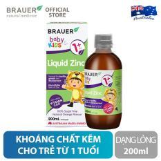 Khoáng chất Kẽm Brauer Liquid Zinc dạng lỏng (200ml), hỗ trợ sức khỏe xương, răng, và da, cho trẻ 1 tuổi trở lên