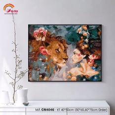 [Lấy mã giảm thêm 30%]Tranh tự tô màu theo số sơn dầu số hóa Gam Cô gái và sư tử CN4046