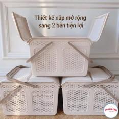 [Lấy mã giảm thêm 30%]Làn giỏ nhựa đựng đồ đi sinh có nắp và quai xách nhựa Việt Nhật 2604 – Buôn rẻ.com 00994